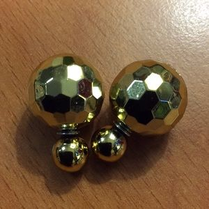 Jewelry - New Gold Double Ball Stud Earrings