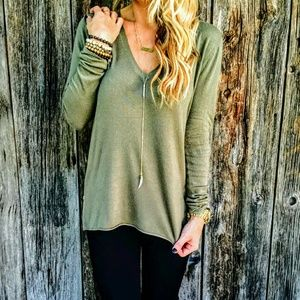 Tops - New! Sage/Olive V-Neck Side Zippered Tunic