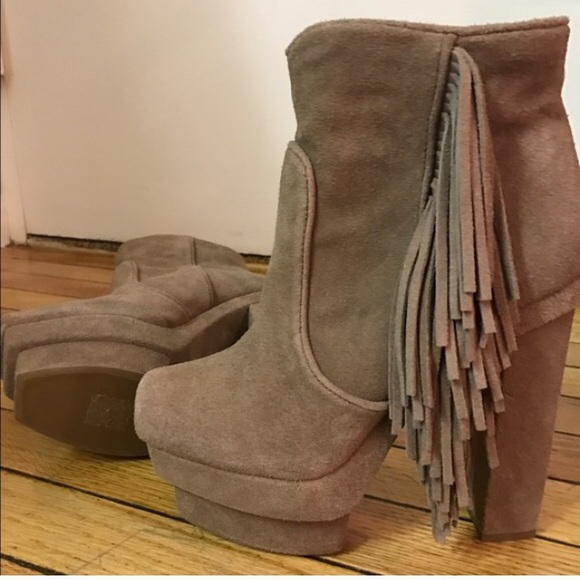 78 off jeffrey campbell shoes sale jeffrey campbell fringe suede bootie 7 5 from brittany 39 s. Black Bedroom Furniture Sets. Home Design Ideas