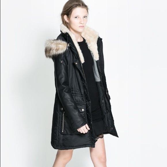 amp; Poshmark Jackets Nylon Leather Combine Black Coats Parka Zara 15v4Pq8v