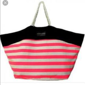 Victoria's Secret hot pink striped beach tote bag