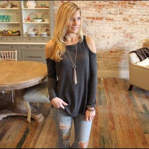 Charcoal open shoulder long sleeve ribbed knit top