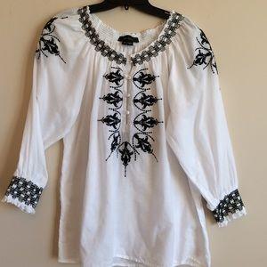 Karen Kane Tops - Boho Peasant Top White With Black Embroidery