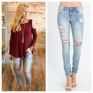Denim - Light denim distressed skinny jeans