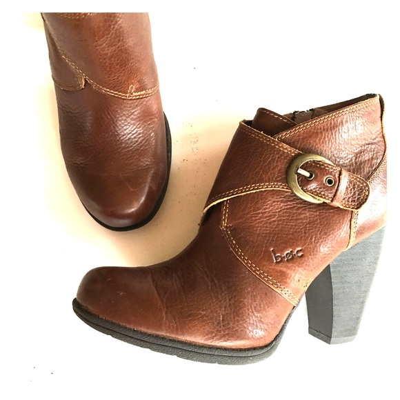 BOC Brown Leather Side Zip/Buckle Ankle Bootie Shoe Womens 7.5M   EUC!