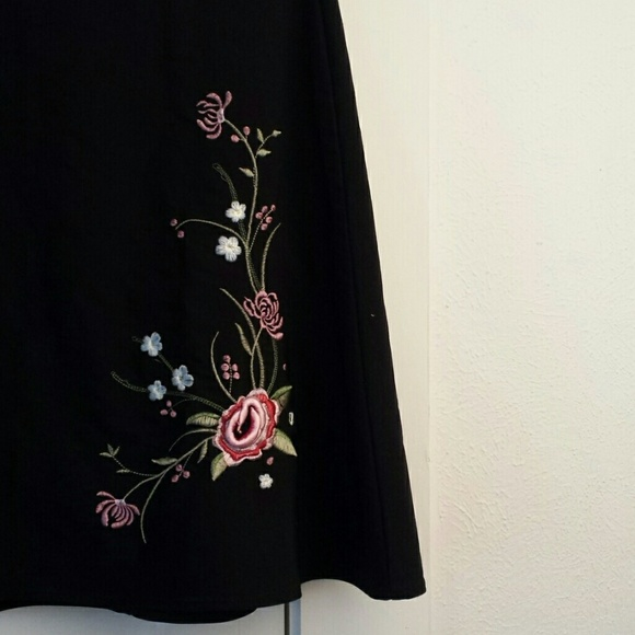 Skirts - (3/$23) Black Skirt with beautiful embroidery