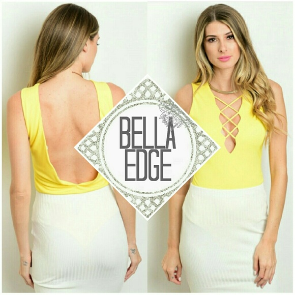 SUMMER Yellow Cage Lace Up Bodysuit 9cdbd498d