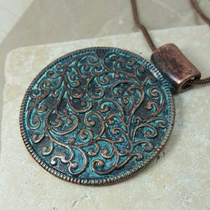 Boutique  Jewelry - Patina Medallion Pendant Necklace