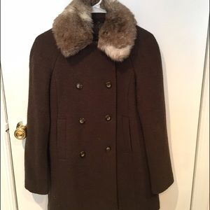 Zara brown coat with faux fur collar size XS
