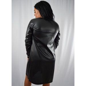 Faux Leather Coat - Black
