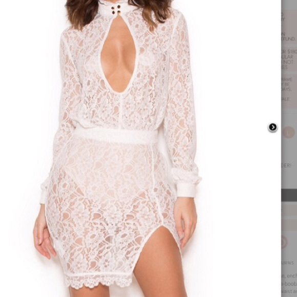 Brand New White Lace Peek A Boob Dress Nwt
