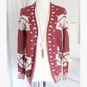 Burgundy Aztec Pattern Sweater