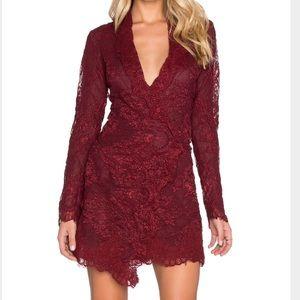 Stone cold fox long sleeve maroon wrap dress