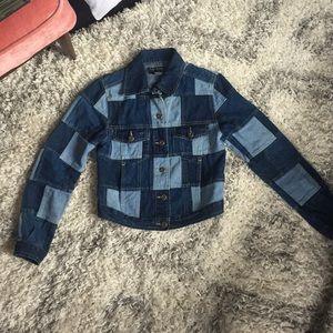 Vintage denim patchwork jacket S