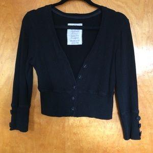 Crop black button sweater.