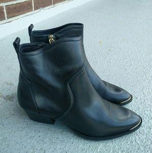 399bc176efa Massimo Dutti black leather cowboy boots NWT