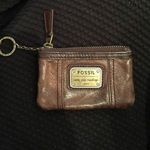 Fossil Accessories - Leather Fossil ID card holder key chain