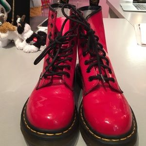 Doc Marten red patent boots. Size 6.