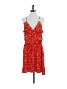 Rebecca Taylor- Red Floral Silk Spaghetti Strap Dress Sz 10