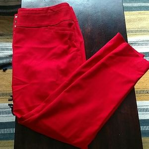 Red skinny ankle pants