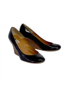 Lanvin- Black Patent Leather Wedges Sz 7