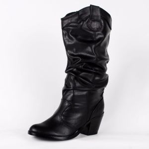 Shoes - Western Mid Calf Cowboy Boot Lode-H Black SRPU