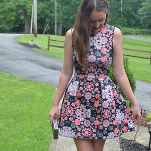 H&M floral fit and flare dress
