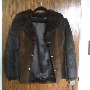 Vintage fur and leather jacket