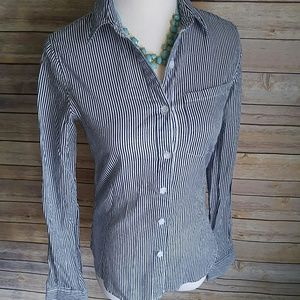 bohme Tops - Navy and white striped button down shirt
