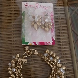 Lilly Pulitzer bracelet and earrings