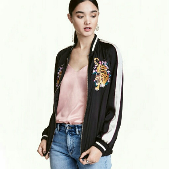 H&M Jackets & Coats - H&M Tiger Embroidered Bomber Jacket