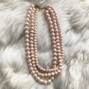 Jewelry - Pink & Yellow Paint Splatter Faux Pearl Necklace
