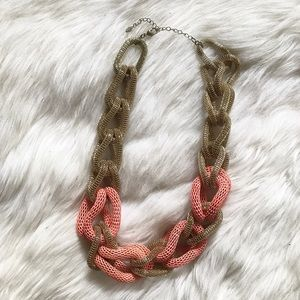 Gold & Pink Chain Looped Chunky Statement Necklace