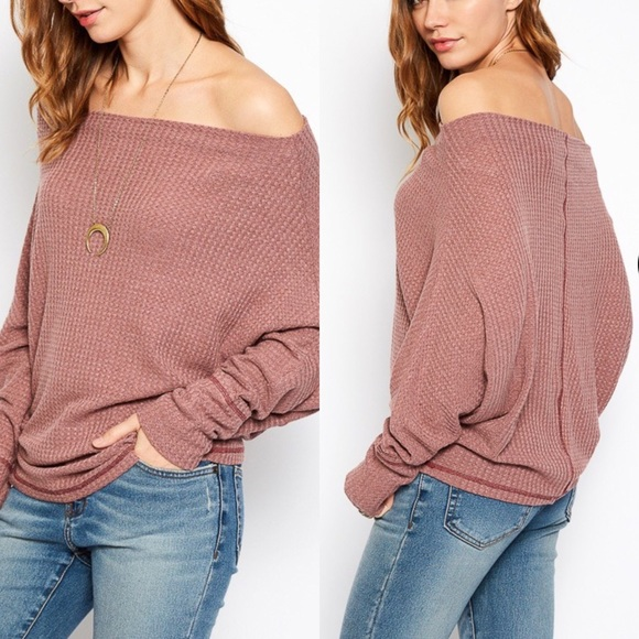 Tops - Off The Shoulder Sweater Top- DUSTY PINK