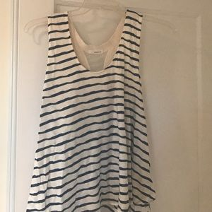 Navy and white stripe racer back flowy top xl