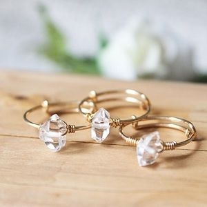 Herkimer Diamond Crystal Wire Wrapped Ring