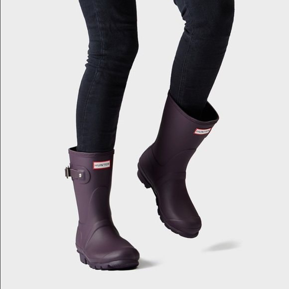 Hunter Shoes Womens Original Short Rain Boots Purple