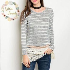 Gray Striped Long sleeve top Lace /Crochet