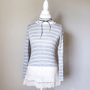 Sweaters - 💐 Gray Striped Long sleeve top Lace /Crochet