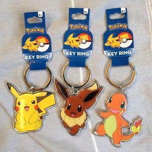 Pokemon Other - Pokemon Pikachu Eevee & Charmander Metal Key Ring