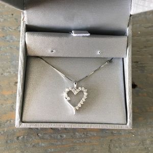 Zales Jewelry - 10k white gold & diamond heart pendant necklace