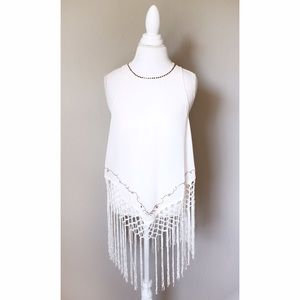 Tops - 💐 Boho Ivory Sleeveless Top w Bead Knotted Fringe