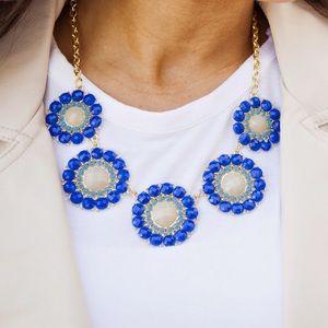 Blue & Nude Rhinestone Circle Statement Necklace