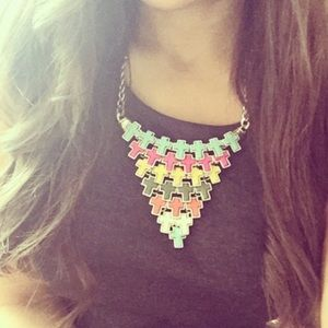 Jewelry - Multi Colored Layered Cross Statement Necklace