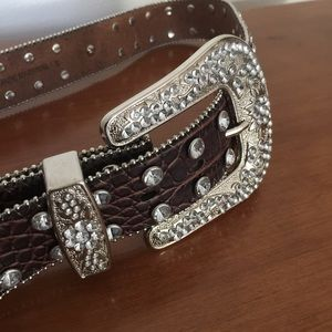 Gorgeous Leather Crystal Belt