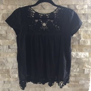 Bizz Tops - Cap sleeved cotton lace trim top
