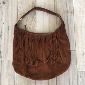 Basler Handbags - Basler Suede Fringe Hobo Bag