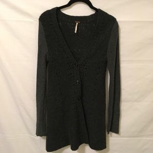 Free People Sweaters - FREE PEOPLE Black Wool Embroidered Back Sweater
