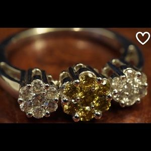 Fancy yellow diamond cocktail daisy flower ring