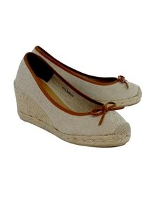 Coach- Tan & Brown Espadrille Round Bow Wedges Sz 9